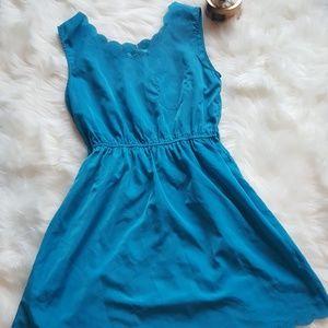 Sky Blue Cinched Waist Scalloped Dress